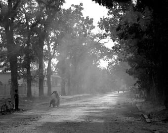 Kampot - 5x7 black and white print in 8x10 mat, cambodia photography, cambodia black and white photo
