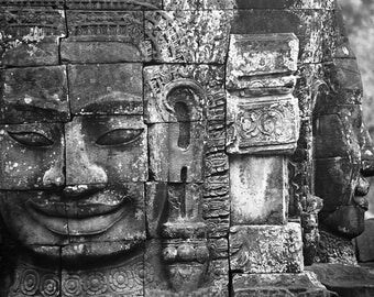 BayonII - traditional black and white photograph, 8x10 paper, cambodia photography, angkor photography, buddhist wall art