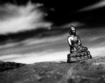 Hearing Buddha - 5x7 print in 8x10 mat, black and white photograph, buddha photo, buddhist wall art