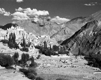 Lamayuru - 5x7 print in 8x10 mat, black and white photograph, ladakh black and white photography, india photograph, buddhist monastery