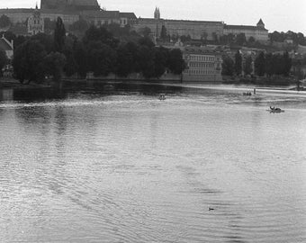 A Lazy Afternoon in Prague - traditional black and white photograph, 8x10 paper, prague black and white photography