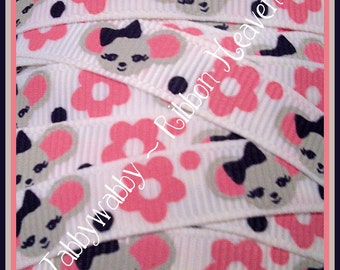 """Cute Mice on 3/8"""" white grosgrain ribbon 5 yards to match the Gymbo Miss Mouse line.TWRH"""