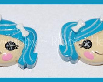 2 Blue Hair Girl Loopsy Resins - TWRH