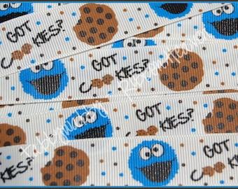 """7/8""""  Blue Monster Cookie Grosgrain Ribbon 5 Yards - TWRH"""