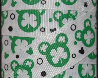 "7/8""  St Patricks Day Magical Mouse Shamrock Green Grosgrain Ribbon 20 Yards - TWRH"