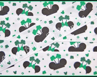"""7/8""""  St Patrick's Day Magical Mouse Ears Hats Clover Grosgrain Ribbon 10 Yards - TWRH"""
