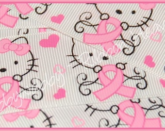 "3 Yards 1 1/2"" Breast Cancer Support Kitty Pink Ribbon - TWRH"