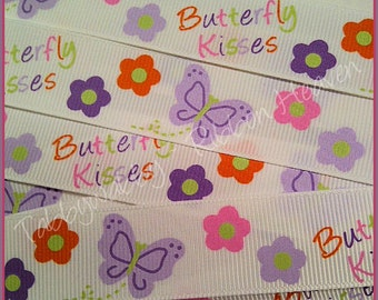 7/8 M2MG Butterfly Blossom Grosgrain Ribbon 5 Yards - TWRH