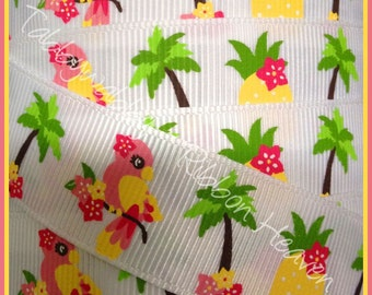 MTMG Aloha Sunshine Parrots 2 Yards 7/8  Grosgrain Ribbon - TWRH