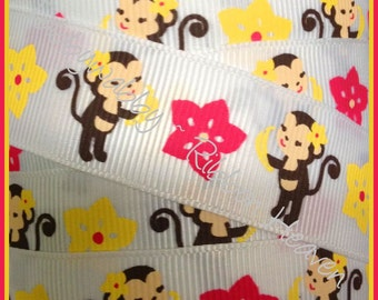 2 Yards 7/8 MTMG Aloha Sunshine Monkeys Grosgrain Ribbon - Twrh