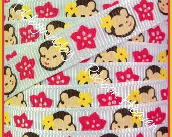 """M2MG Aloha Sunshine Monkeys Grosgrain Ribbon 3/8"""" 5 yds on white  - TWRH"""