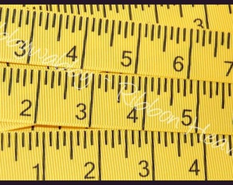 5 Yards 7/8 Yellow Tape Measure Grosgrain Ribbon - TWRH