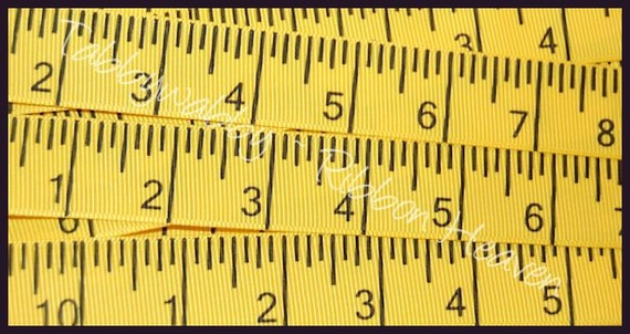 5 Yards 7/8 Yellow Tape Measure Grosgrain Ribbon