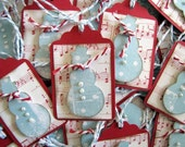 Cute Christmas Polkadot Musical Snowman Scalloped Gift Tags Pk 12, Handmade