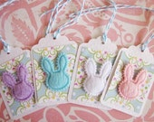 Easter Bunny Rabbit Faux Fur Gift Tags Set of 4, blue, pink, white, purple
