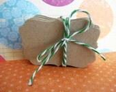 Kraft Cardstock Scalloped Frame Label Gift Tags - Pk 50