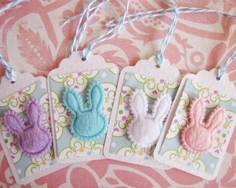 Baby Gift Tag, Bunny Rabbit Faux Fur Gift Tags Set of 4, blue, pink, white, purple