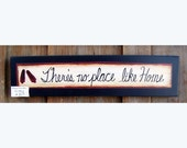There's no place like home, print on a wood sign by folk artist Laurie Sherrell