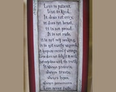 Love is Patient plaque, wood sign, 1 Corinthians 13, the love chapter, bible verse, quote, wedding gift, christian wall decor, handmade
