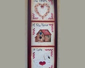 The Heart of the Home is Love plaque wood sign birdhouse, wreath