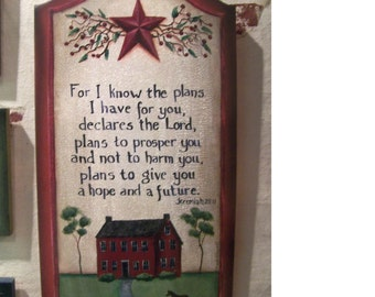 Jeremiah 29 11, wood sign handmade, by Heaven to Hand, primitive wall decor, salt box houses, art print, bible verse