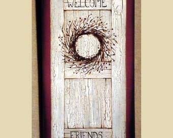 Welcome friends wreath shutter wood sign farmhouse decor Hand made by Laurie New Lower Price!