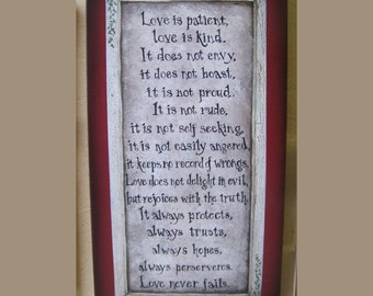 Love is Patient plaque by folk artist Laurie Sherrell