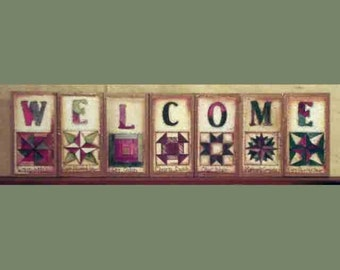 Quilted Alphabet Welcome blocks by folk artist Laurie Sherrell