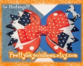 Boutique Stacked Hair Bow Clips in Orange, White, and Navy