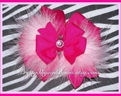 Large Layered Boutique Hair Bow Clip in Fuchsia and Lt Pink Marabou