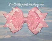 Boutique Hair Bow Clip in Light Pink and White Polka and Swiss Dots