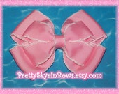 Boutique Layered Moonstitch Hair Bow Clip in Pink