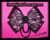 Layered Boutique Black Lace and Pink Satin Hair Bow Clip with Sequins