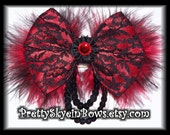 Layered Boutique Black Lace and Red Satin Hair Bow Clip with Seqin and Marabou