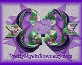 Stacked Boutique Hello Kitty Hair Bow Clip in Dark Lavender and Green