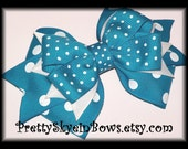 Layered Boutique Turquoise Hair Bow Clip In Polka and Swiss Dots