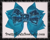 Layered Boutique Sequin Hair Bow Clip in Turquoise