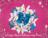 Large Twisted Boutique Hair Bow Clip in Polka Dots and Turquoise