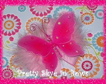 Large Butterfly Boutique Hair Bow Clip in Pink