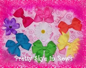 9 Piece Baby Hair Bow Clip Sampler Collection