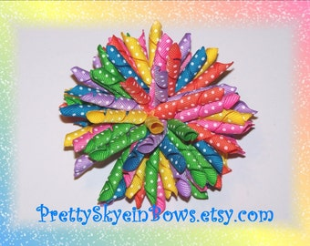 Bright Rainbow Boutique Korker Hair Bow Clip with Swiss Dots