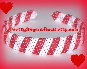 Stripe Boutique Woven Ribbon Headband in Red and White with Swiss Dots