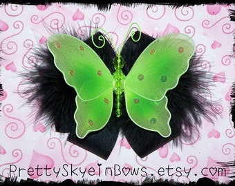 Boutique Butterfly Hair Bow Clip in Black and Green
