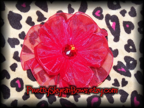 Red Organza Flower Hair Bow Clip