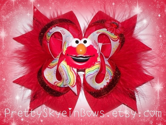 Large Stacked Deluxe Boutique Elmo Hair Bow Clip in Red