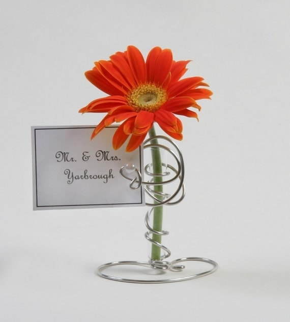 75 Silver Place Card Holders with mini bud vase whimsical and elegant