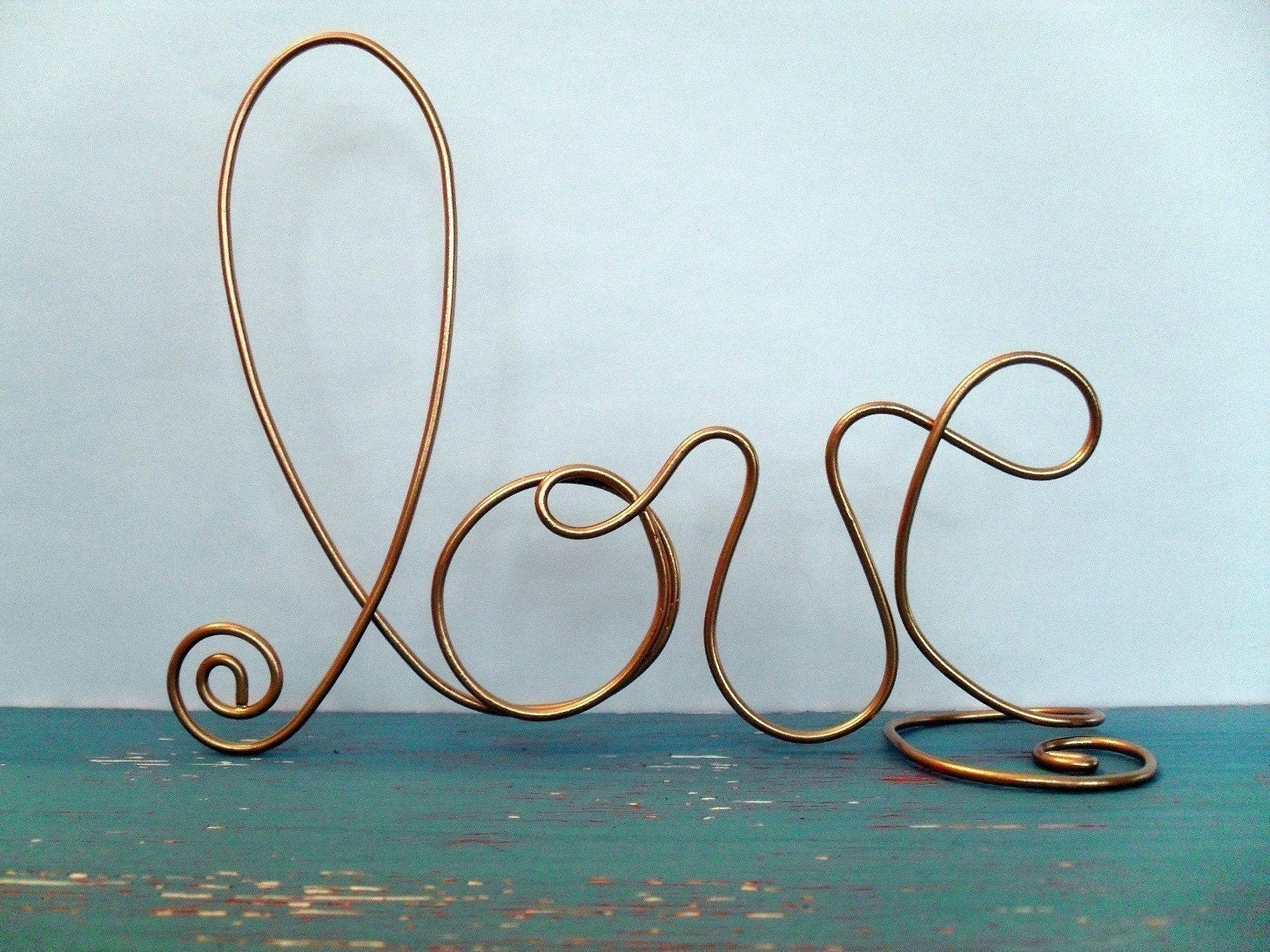 GOLD Wire LOVE Wedding Cake Topper Decorations Decor
