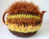 Teapot Tea Cozy Cosy Rust Green Gold Handmade