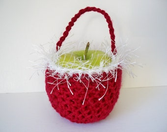 Apple Cozy Basket Red and Funky Crocheted