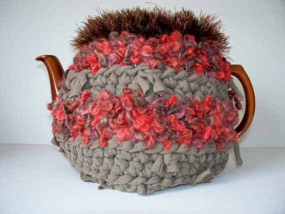 Teapot Cozy Tea Cosy Crocheted Red  Taupe